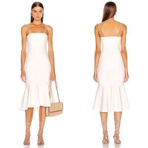 Cinq A Sept Salina Ruffle Hem Midi Dress Ivory